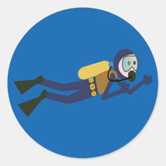Blue and Yellow Swimming Cartoon Scuba Diver Classic Round Sticker