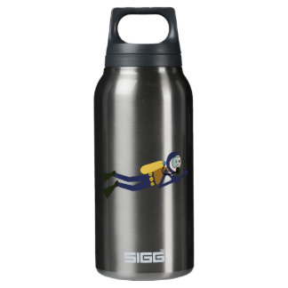 Blue and Yellow Swimming Cartoon Scuba Diver Insulated Water Bottle