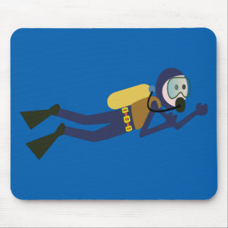 Blue and Yellow Swimming Cartoon Scuba Diver Mouse Pad