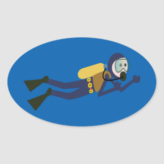 Blue and Yellow Swimming Cartoon Scuba Diver Oval Sticker
