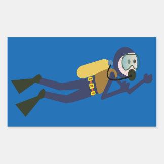 Blue and Yellow Swimming Cartoon Scuba Diver Rectangular Sticker