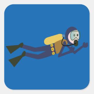 Blue and Yellow Swimming Cartoon Scuba Diver Square Sticker