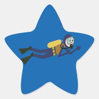 Blue and Yellow Swimming Cartoon Scuba Diver Star Sticker