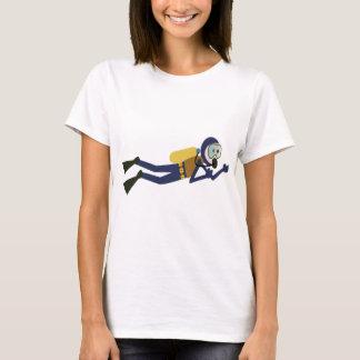 Blue and Yellow Swimming Cartoon Scuba Diver T-Shirt