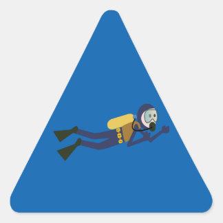 Blue and Yellow Swimming Cartoon Scuba Diver Triangle Sticker