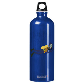 Blue and Yellow Swimming Cartoon Scuba Diver Water Bottle