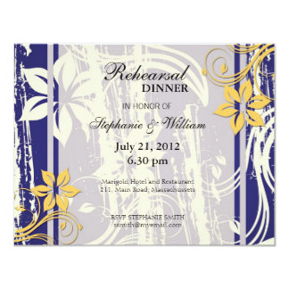 Blue and Yellow Swirl Rehearsal Dinner Card