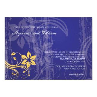 Blue and Yellow Swirl Wedding Invitation