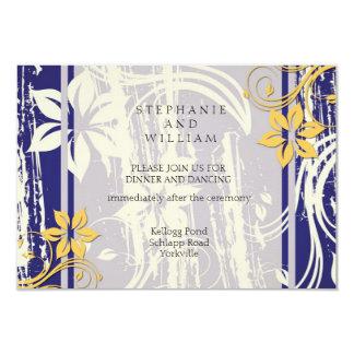 Blue and Yellow Swirl Wedding Reception Card