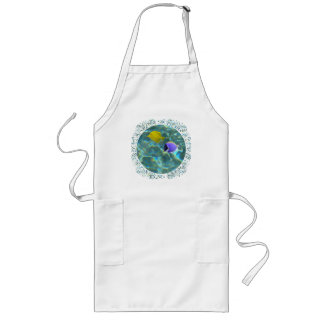 Blue and Yellow Tang in Water Long Apron