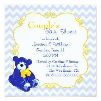 Blue and Yellow Teddy Bear Couple's Baby Shower 5.25x5.25 Square Paper Invitation Card