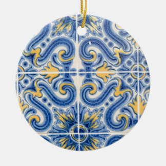 Blue and yellow tile, Portugal Ceramic Ornament