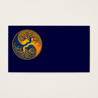 Blue and Yellow Tree of Life Yin Yang Business Card