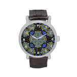Blue and yellow trendy pattern wrist watches