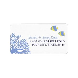 Blue and Yellow Tropcial Beach Address Address Label