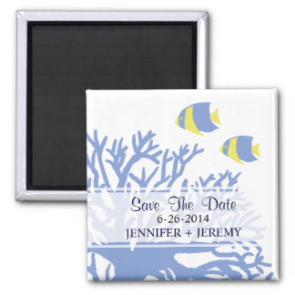 Blue and Yellow Tropical Angel Fish 2 Inch Square Magnet