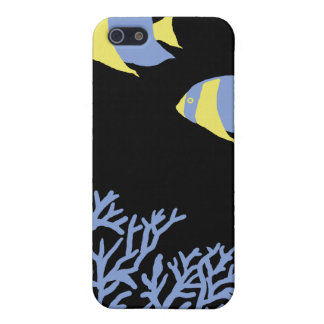 Blue and Yellow Tropical Angelfish Cover For iPhone SE/5/5s