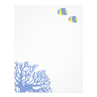 Blue and Yellow Tropical Angelfish Letterhead