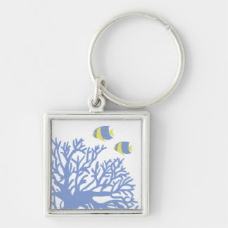 Blue and Yellow Tropical Angelfish Silver-Colored Square Keychain