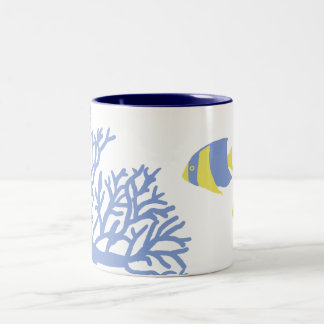 Blue and Yellow Tropical Angelfish Two-Tone Coffee Mug