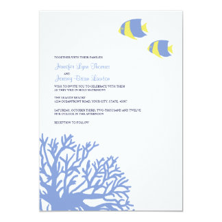 Blue and Yellow Tropical Coral Wedding Invitation