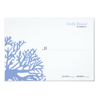 Blue and Yellow Tropical Coral Wedding rsvp 3.5x5 Paper Invitation Card