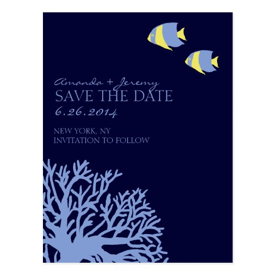 Blue and Yellow Tropical Fish  Save the Date Postcard