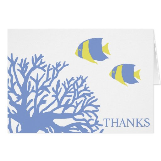 Blue And Yellow Tropical Fish Thank You Card Zazzle