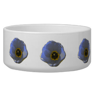 Blue and Yellow Tulip Dog Bowl