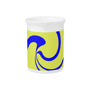 Blue and Yellow Twist Beverage Pitcher