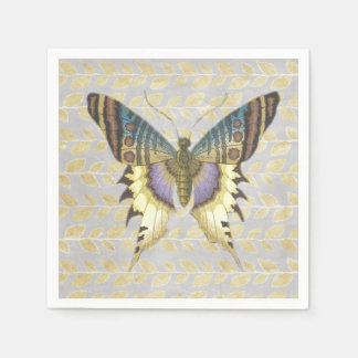 Blue and Yellow Vintage Style Butterfly Paper Napkin