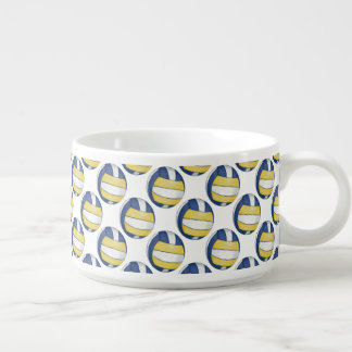 Blue and Yellow Volleyball Patterns Bowl