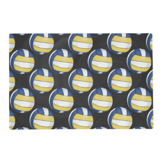 Blue and Yellow Volleyball Patterns Placemat