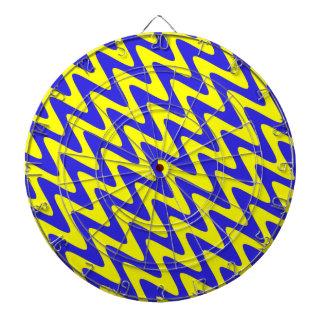 Blue and Yellow Wavy Zigzag Dartboard