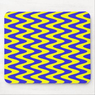 Blue and Yellow Wavy Zigzag Mouse Pad