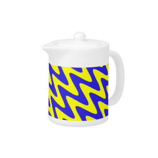 Blue and Yellow Wavy Zigzag Teapot