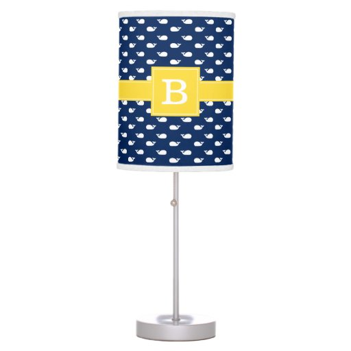 Blue and Yellow Whimsical Whales Pattern Monogram Table Lamp