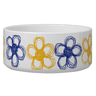 Blue and Yellow Wild Flowers Bowl