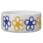 Blue and Yellow Wild Flowers Dog Food Bowls