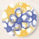 Blue and Yellow Wild Flowers Drink Coaster