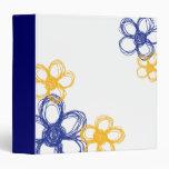 Blue and Yellow Wild Flowers Vinyl Binder