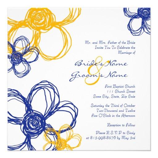 Blue and Yellow Wild Flowers Wedding Invitation