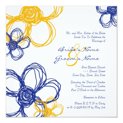 "Blue and Yellow Wild Flowers Wedding Invitation 5.25"" Square Invitation Card"