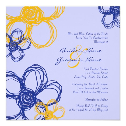 Blue and Yellow Wild Flowers Wedding Invitation