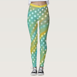 Blue and Yellow with White Polkadots Leggings