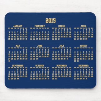 Blue And Yellow Yearly Calendar 2015 On Mousepad