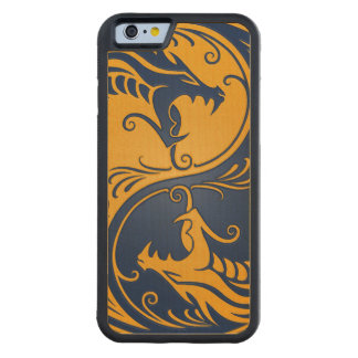 Blue and Yellow Yin Yang Dragons Carved® Maple iPhone 6 Bumper Case