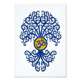 Blue and Yellow Yoga Om Tree on White Card