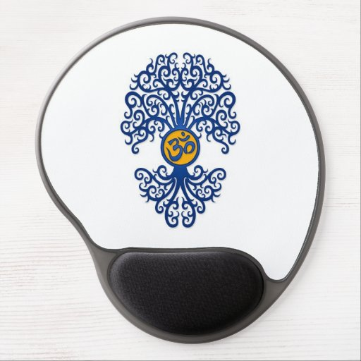 Blue and Yellow Yoga Om Tree on White Gel Mouse Mat