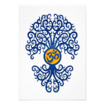 Blue and Yellow Yoga Om Tree on White Invitations
